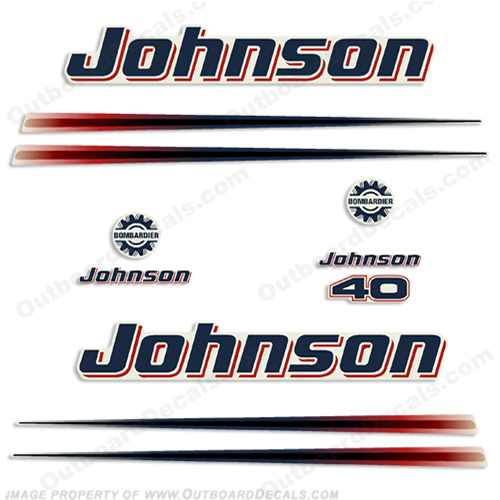 Johnson 40hp Two Stroke Decals - 2002 - 2006 twostroke, two-stroke, 40 hp