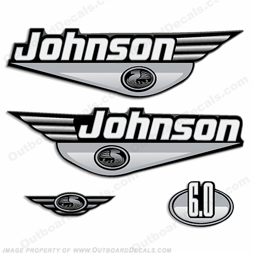 Johnson 6.0hp Decals (Silver) - 2000