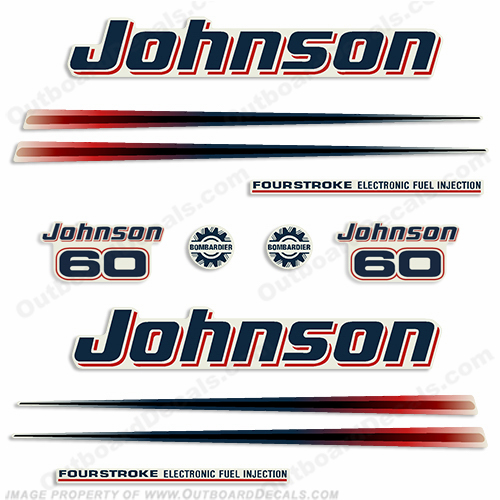 Johnson 60hp FourStroke Decals - 2002 - 2006