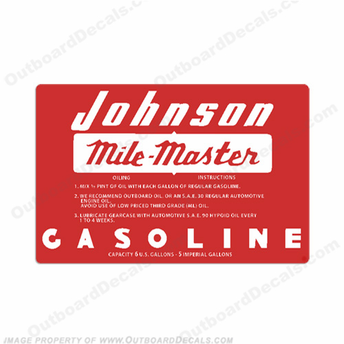 Johnson 1956 6 Gallon Gas Tank Decal