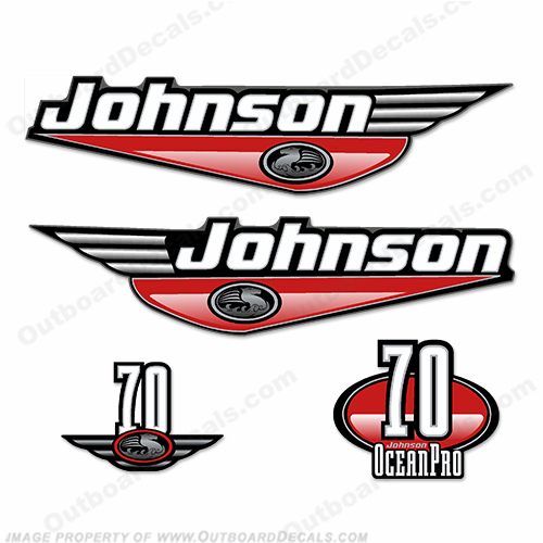 Johnson 70hp OceanPro Decals - Red ocean, pro, ocean pro, ocean-pro