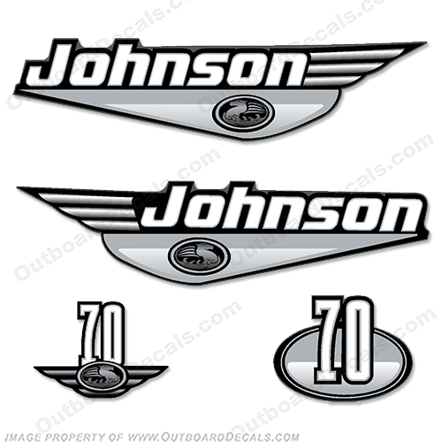 Johnson 70 hp Decal Kit - Silver