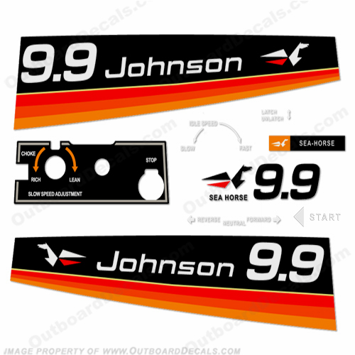 Johnson 1974 9.9hp - Electric Decals