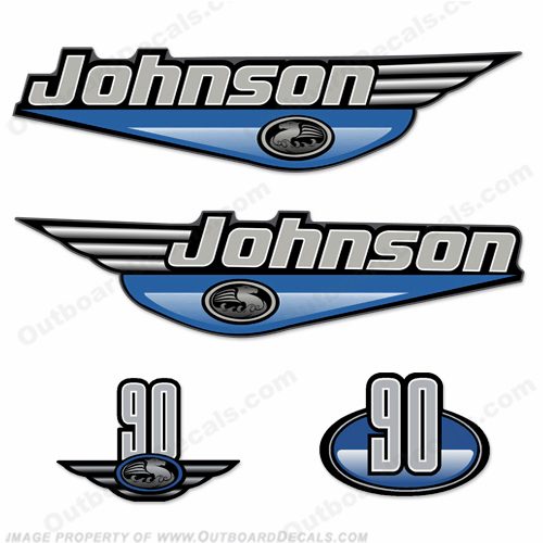 Johnson 90hp Decals (Light Blue) - 2000