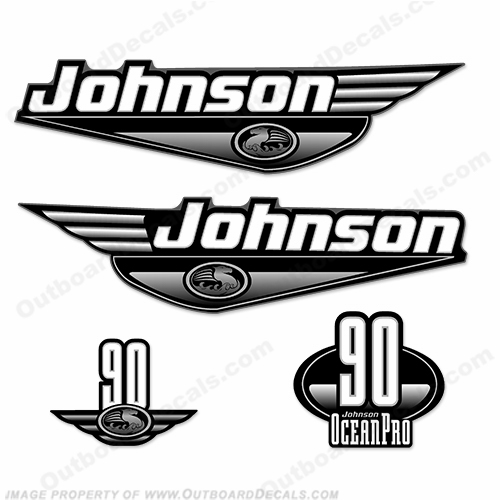 Johnson 90hp OceanPro Decals - Black ocean, pro, ocean pro, ocean-pro