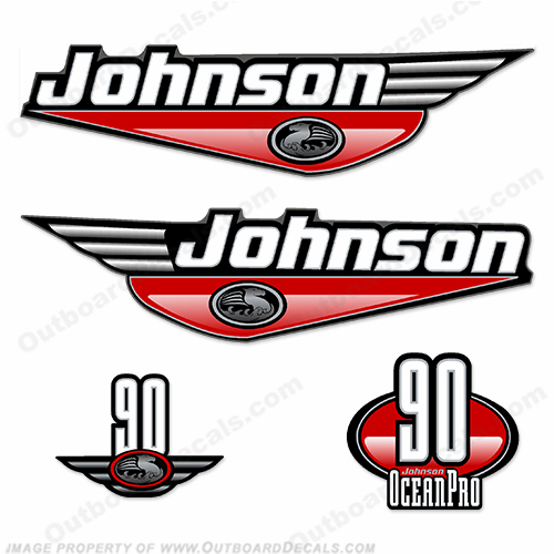 Johnson 90hp OceanPro Decals - Red ocean, pro, ocean pro, ocean-pro