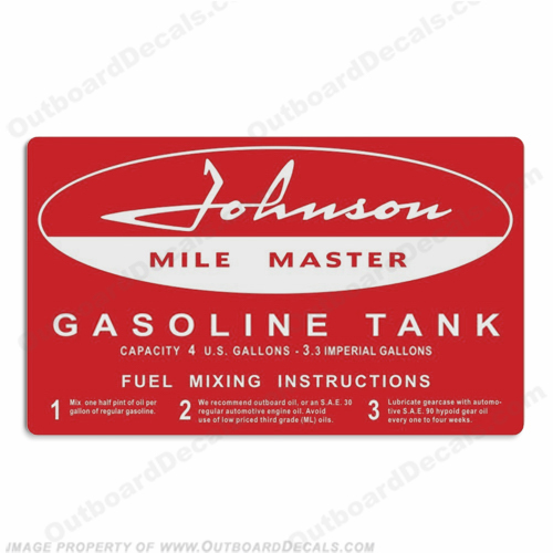 Johnson 1958 4 Gallon Gas Tank Decal