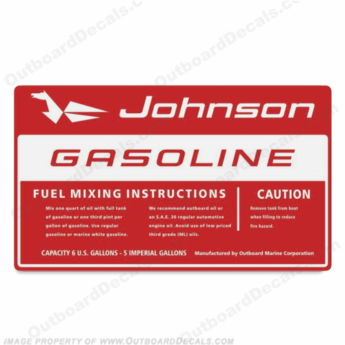 Johnson 1960 6 Gallon Gas Tank Decal