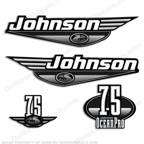 Johnson 75hp OceanPro Decals - Black ocean, pro, ocean pro, ocean-pro