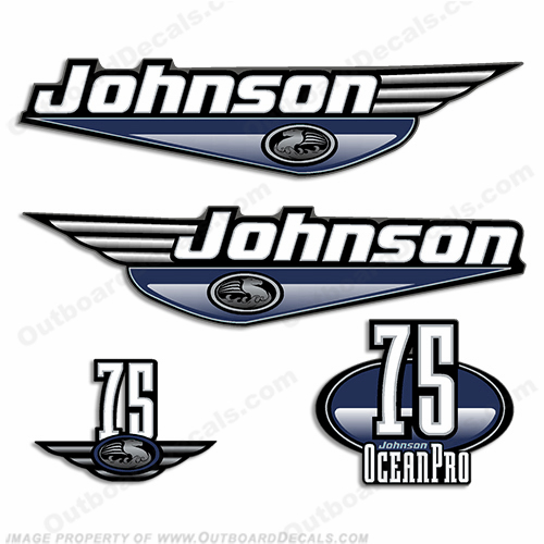 Johnson 75hp OceanPro Decals - Dark Blue ocean, pro, ocean pro, ocean-pro