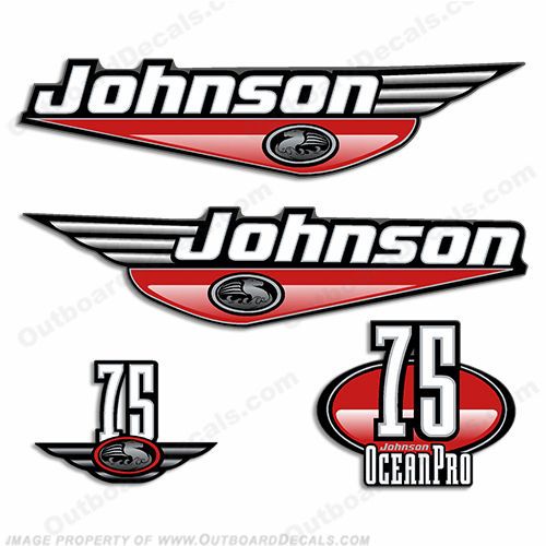Johnson 75hp OceanPro Decals - Red ocean, pro, ocean pro, ocean-pro
