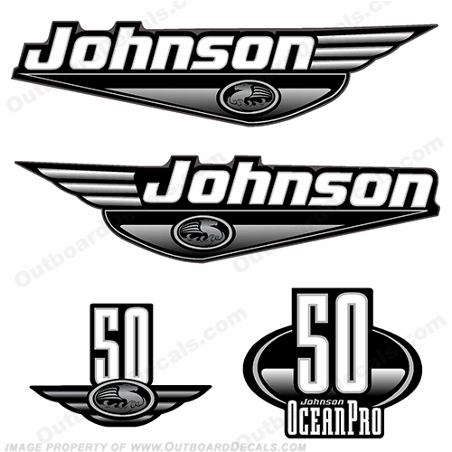 Johnson 50hp OceanPro Decals - Black ocean, pro, ocean pro, ocean-pro