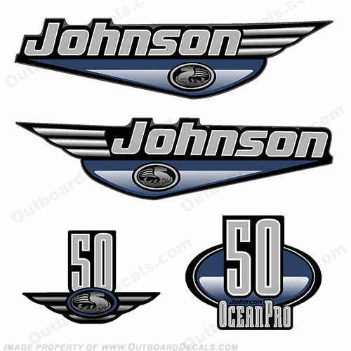 Johnson 50hp OceanPro Decals - Dark Blue ocean, pro, ocean pro, ocean-pro