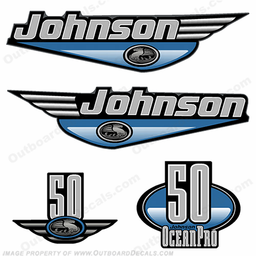 Johnson 50hp OceanPro Decals - Light Blue ocean, pro, ocean pro, ocean-pro
