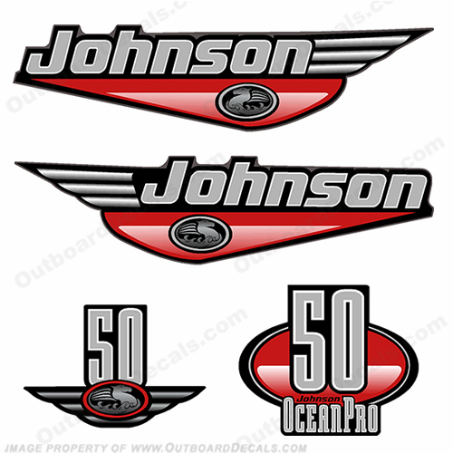 Johnson 50hp OceanPro Decals - Red ocean, pro, ocean pro, ocean-pro