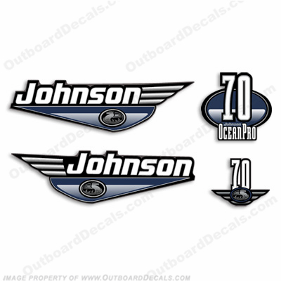 Johnson 70hp OceanPro Decals - Blue ocean, pro, ocean pro, ocean-pro