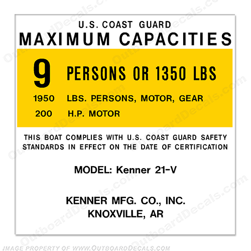 Kenner 21-V Capacity Decal - 9 Person