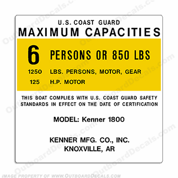 Kenner 1800 Capacity Decal - 6 Person