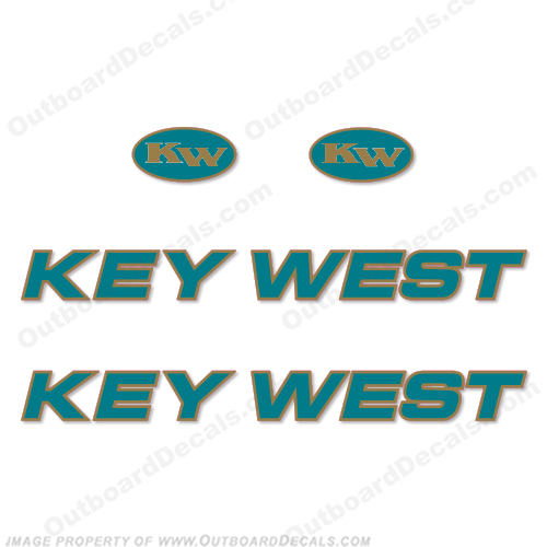 Key West Boat Decals (Set of 2) - Teal/Gold - Original