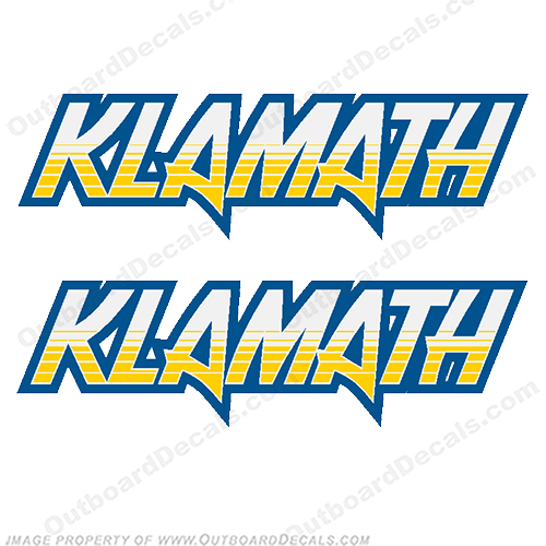 Klamath Boat Logo Decals - Blue/Yellow (Set of 2)