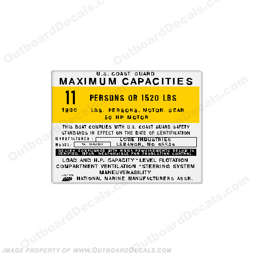 Lowe Industries 18 Malibu Capacity Decal - 11 Person capacity, plate, sticker, decal, 18 foot