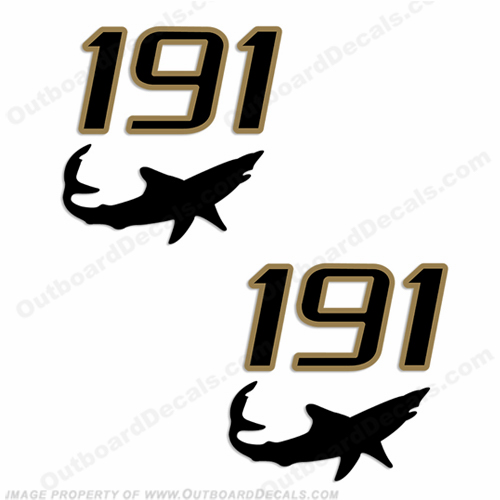 Mako 191 Boat Decals - Black/Gold (Set of 2)