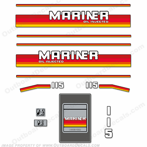 Mariner 115hp Decal Kit - 1988