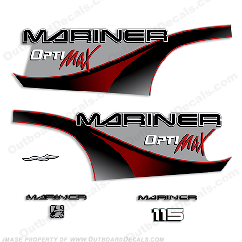 Mariner 115hp Optimax Decal Kit - 2000 (Red)