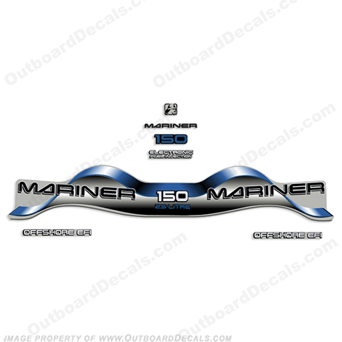 "Mariner 150hp 2.5 Liter ""Offshore EFI"" Decal Kit - Blue 150 hp"