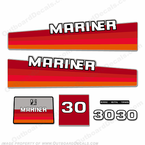 Mariner 30hp Decal Kit - 1985 - 1987