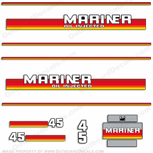 Mariner 1984 - 1990 45hp Decal Kit