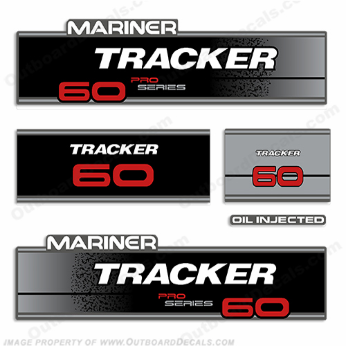 Mariner Tracker 60hp Pro Series Engine Decal Kit