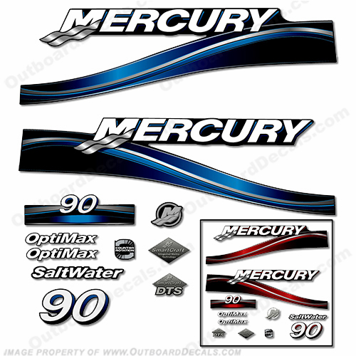 "Mercury 90hp ""Optimax"" Decals - 2005 (Red or Blue)"