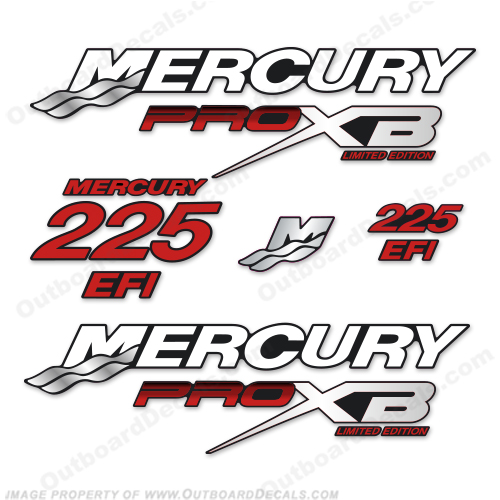 Mercury 225hp Pro XB Limited Edition Decals (Red) 225 h.p., 225 horse power, 225-hp, pro-xb, proxb
