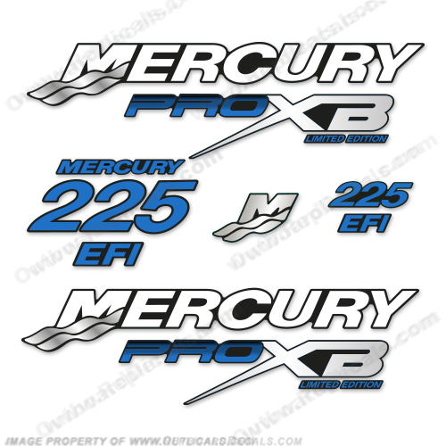 Mercury 225hp Pro XB Limited Edition Decals (Blue) 225 h.p., 225 horse power, 225-hp, pro-xb, proxb