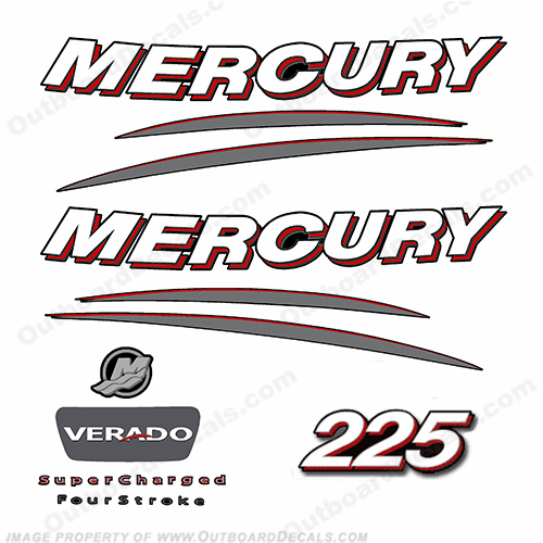 Mercury 225hp Verado Decal Kit - Curved