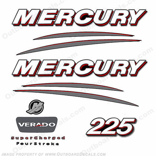 Mercury 225hp Verado Decal Kit - Straight