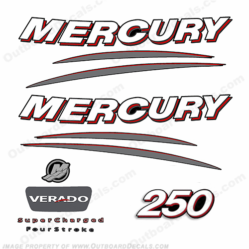 Mercury 250hp Verado Decal Kit - Curved