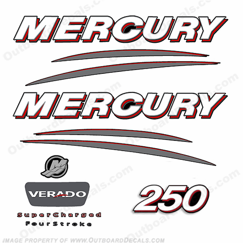 Mercury 250hp Verado Decal Kit - Straight
