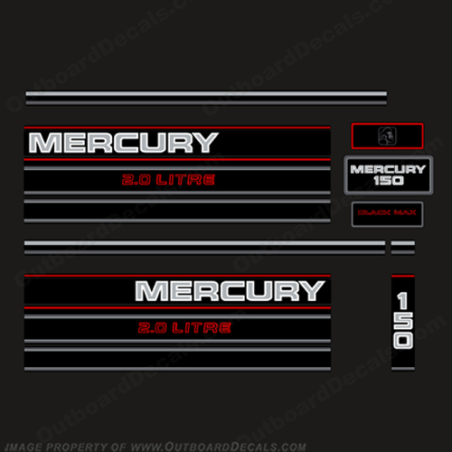 Mercury 150hp 2.0 Litre BlackMax Decal Kit - 1995  Mercury, 150hp, BlackMax, 2.0, Litre Decal Kit, - 1995, 1990, 90, 90's, Black Max, liter, litre, 150, Black, Max, 1994, 1996