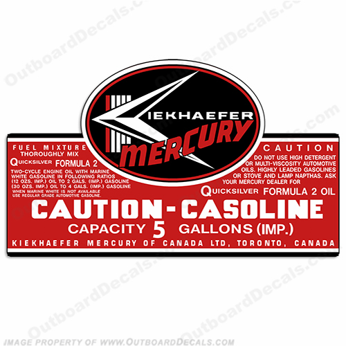 Mercury 1957-1963 5 Gallon Gas Tank Decal - M-TNK-5-57-63