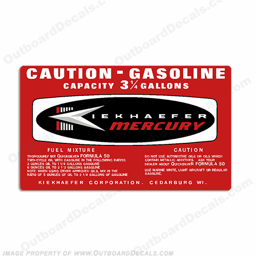 Mercury 1964 3.25 Gallon Gas Tank Decal