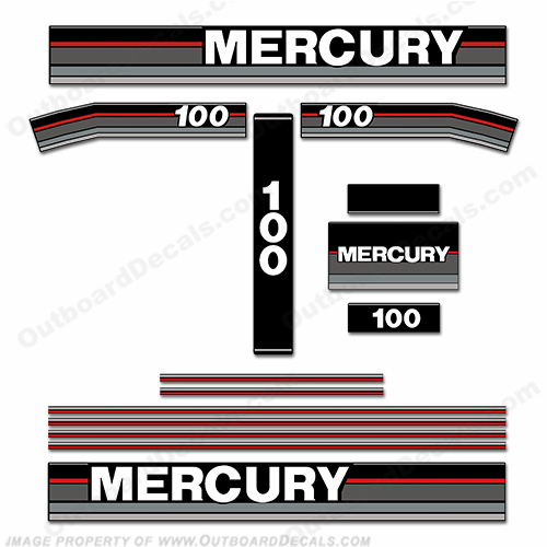 Mercury 1989 100HP Outboard Decals