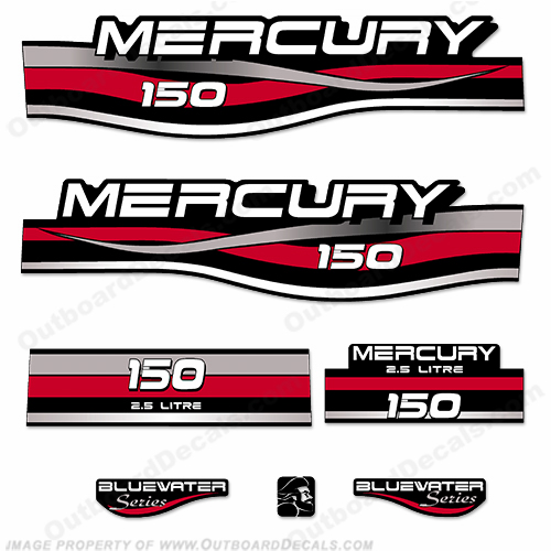 Mercury 150hp 2.5L Bluewater Series Decal Kit (Red)