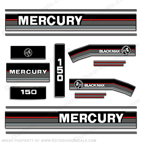Mercury 1989-1990 150hp Black Max Outboard Engine Decals