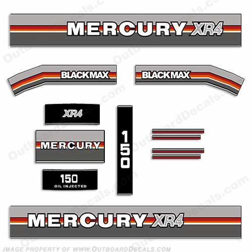 Mercury 1988 150HP XR4 BlackMax Outboard Engine Decals