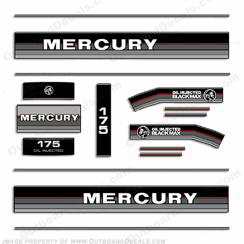 Mercury 1986-1988 175HP Black Max Outboard Engine Decals