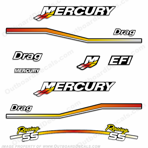 Mercury 2.5L - 3.0L Drag Racing Decal Kit