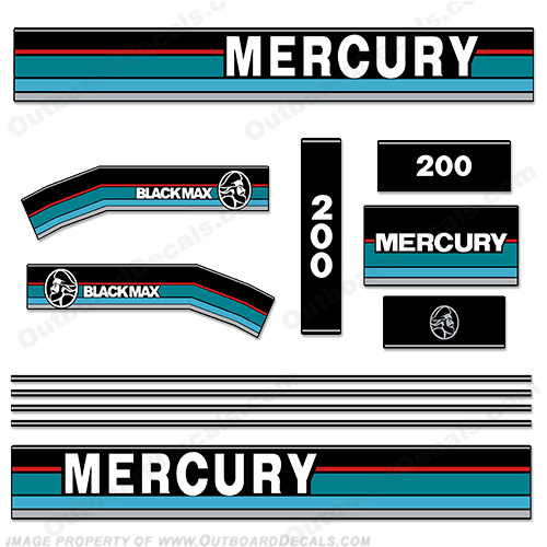Mercury 1995 200HP Outboard Engine Decals