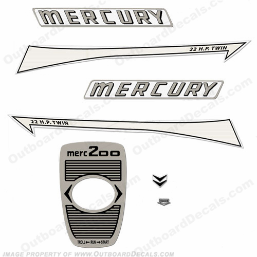 Mercury 1961 22HP Outboard Engine Decals